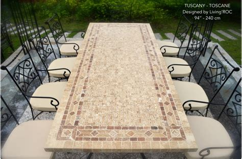 "78"" Outdoor Patio Dining Table Italian Mosaic Stone Marble"
