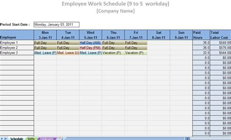 printable work schedule template printable work schedule templates