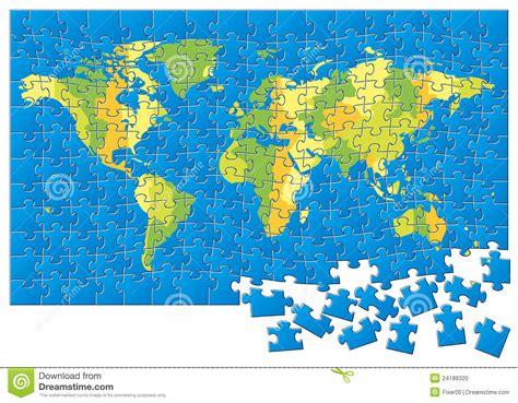world map puzzle stock photo image