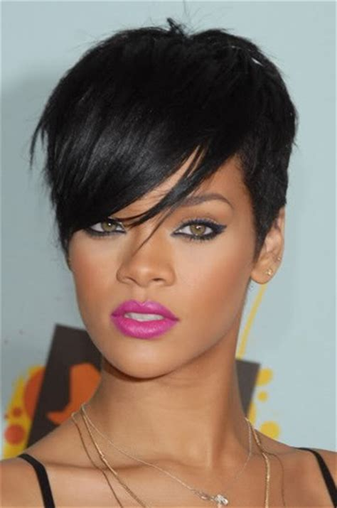 Hair Style Machine by Rihanna Side Swept Fringe Style Indian Remy Hair