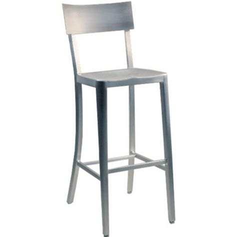 Brushed Aluminum Counter Stools by Alston Melanie Brushed Aluminum Armchair Stool With Molded