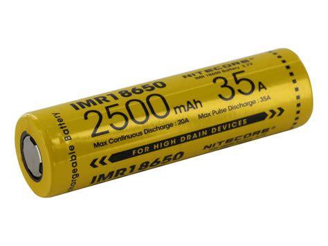 Nitecore Imr18650 Baterai Vape 2500mah 35a 3 7v nitecore imr 18650 2500mah 3 7v unprotected high drain 35a lithium manganese limn2o4 flat top