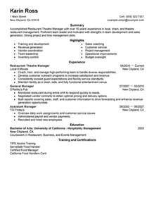 Theater Manager Sle Resume restaurant theatre manager resume sle my resume