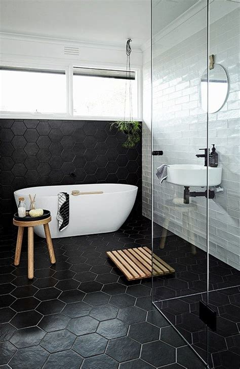 black and white modern bathroom 39 stylish hexagon tiles ideas for bathrooms digsdigs
