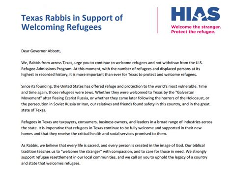 Sle Support Letter For Refugee Updated Rabbis Write In Support Of Welcoming Refugees Hias