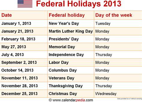 Easter 2013 Calendar Federal Holidays 2013