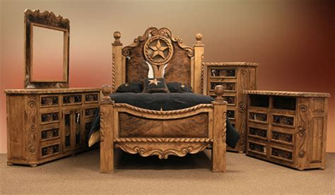 lmt rope  star rustic bedroom set  cowhide accents dallas designer furniture