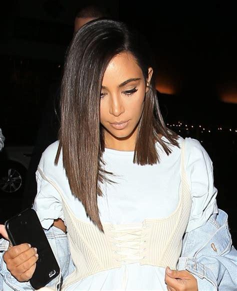long bob hairstyles kim kardashian kim kardashian asymmetrical cut shoulder length