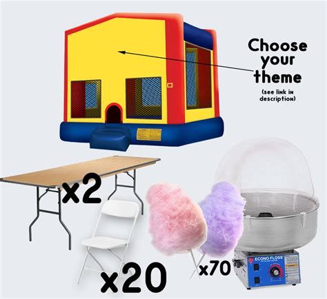 bounce house and table rentals bounce house cotton 2 tables and 20 chairs