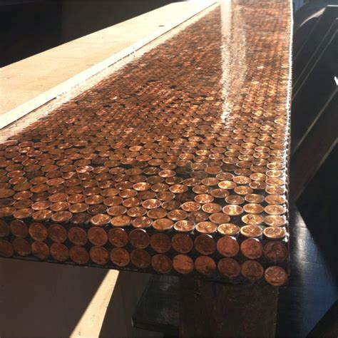 penny bar top diy diy penny bar table for the home pinterest