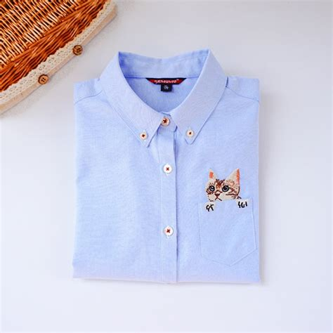 Cat Embroidery Shirt cat embroidery sleeve casual blouse