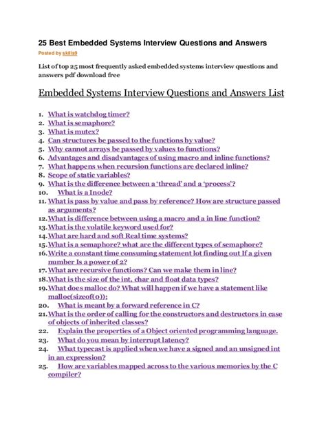 it questions answers for it interviews access lists and prefix lists tunnels and vpns cisco firewall volume 5 books 25 best embedded systems questions and answers