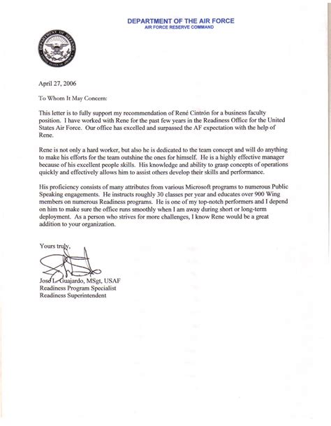 Character Letter Air Army Letter Of Recommendation Exle Best Template Collection