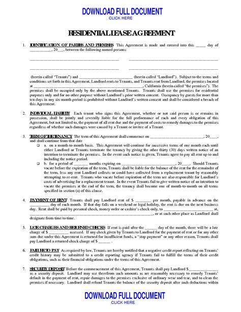 general lease agreement template 28 general lease agreement template printable blank