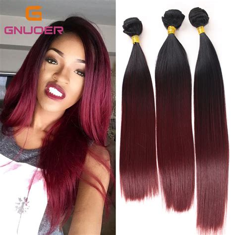 three tone weave hairstyles for black women sexy 3 bundles 2 tone ombre black to red straight