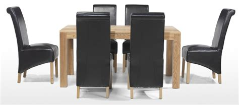 cube dining set with leather chairs cube oak 160 cm dining table and 6 chairs quercus living