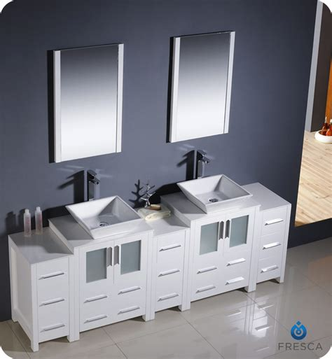 bathroom vanities with side cabinets 84 quot fresca torino fvn62 72wh vsl modern sink