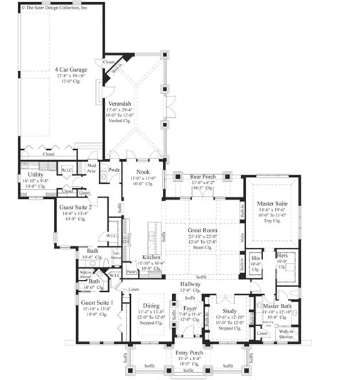 Bungalow Style House Plan 3 Beds 3 50 Baths 3108 Sq Ft