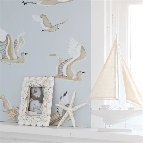 Seaside inspired living room wallpaper   Living room