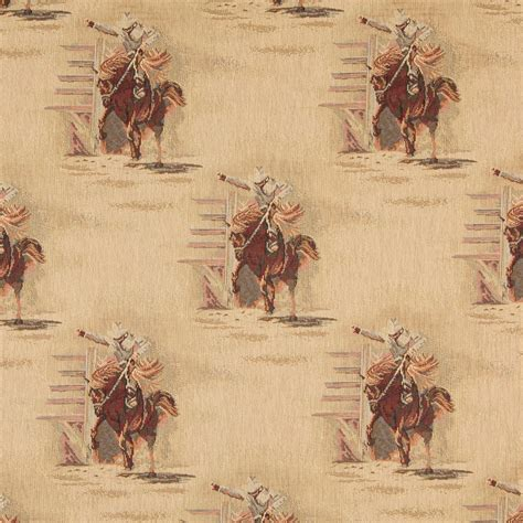 Themed Fabric Upholstery by Rodeo Cowboys And Horses Themed Tapestry Upholstery