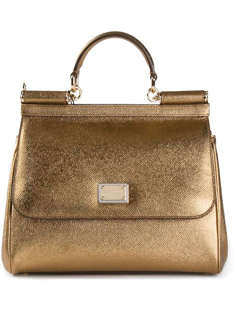 Dg Dolce Gabbana Metallic Shopper by Dolce Gabbana Miss Sicily Tote In Gold Metallic Lyst