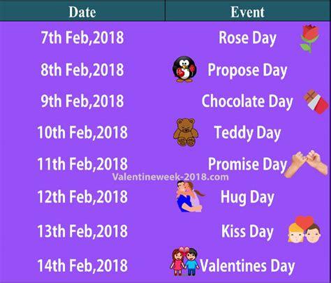 valentin day list week list 2018 date schedule day propose