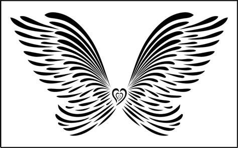 large angel wings wall art stencil