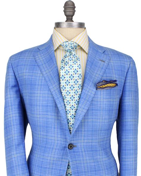 Kiton Light Blue Plaid With Pale Yellow Windowpane