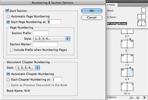 indesign sections indesign numbering and section options graphic design