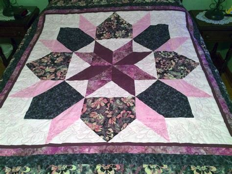 Handcrafted Quilts - new handmade pieced quilt 100 cotton maroon grey