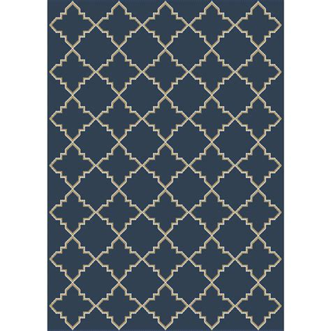 Hton Bay Moroccan Tile Blue 8 Ft X 10 Ft Indoor Blue Area Rug 8 X 10