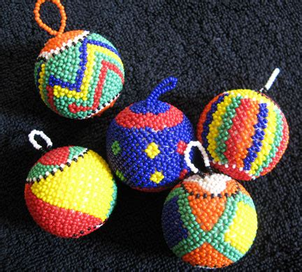 handmade african zulu glass trade bead ornaments set 5 ebay