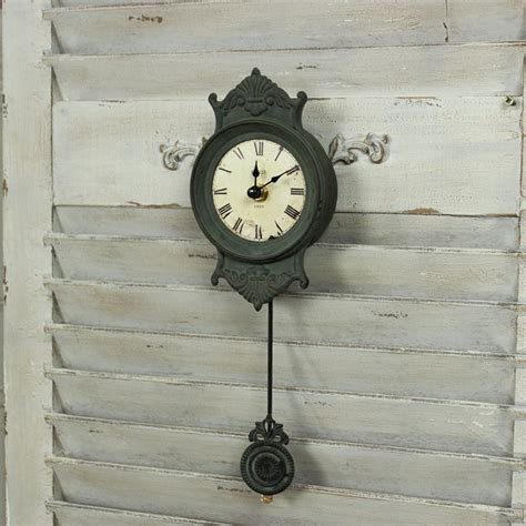 Living Room Pendulum Clock Grey Metal Small Wall Clock Pendulum Shabby Chic
