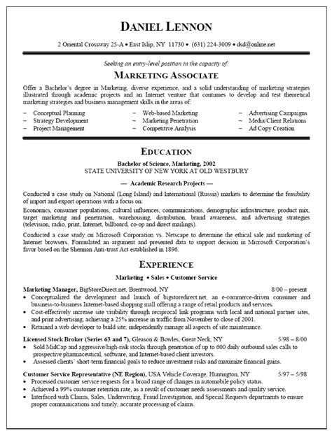 resume sles for graduates resume sle for marketing associate new graduate