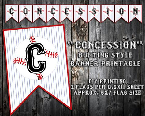 printable concessions banner instant download black or blue font baseball themed