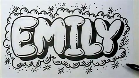 how to graffiti letters write emily in bubble letters mat youtube