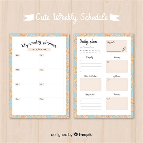 cute weekly planner template  colorful design