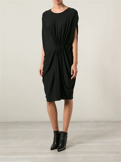 lanvin draped dress lyst lanvin draped dress in black
