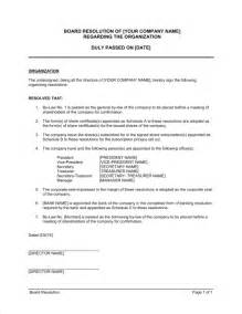 Board Resolution Templates by Board Resolution Regarding Organization Template