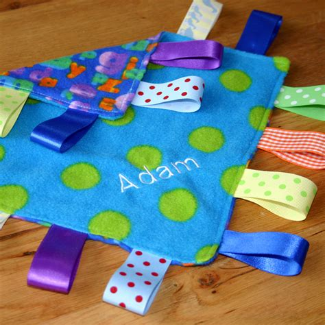 Handmade Taggies - baby boy taggie blanket arty apple handmade crafts