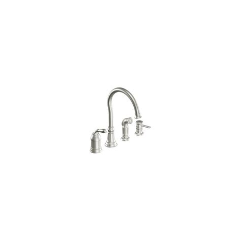 moen lindley single handle side sprayer kitchen faucet in faucet com ca87008csl in classic stainless by moen