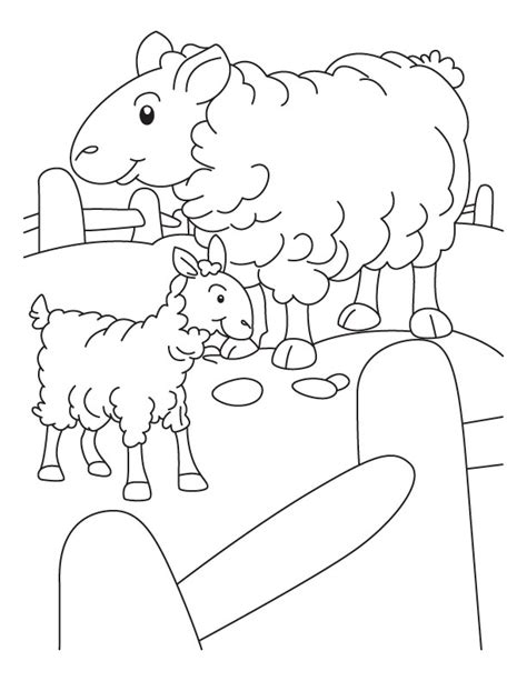sheep pen coloring page mother sheep and lamb in a pen coloring page download