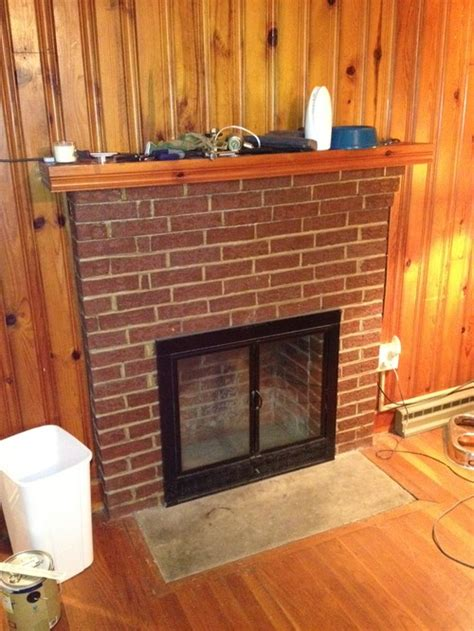 Pine Wood For Fireplace by Paint Suggestions For Brick Fireplace On Knotty Pine Wall