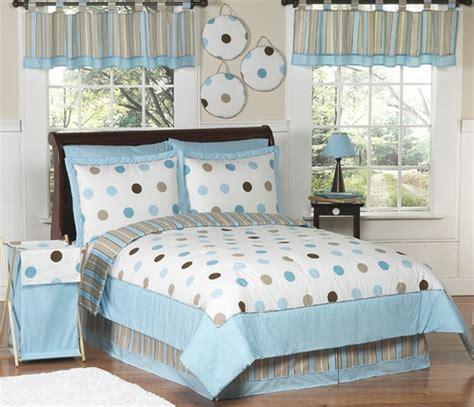 polka dot comforter set twin blue and brown modern polka dots childrens bedding 4 pc