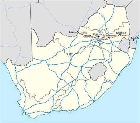 africa map numbered n4 road south africa