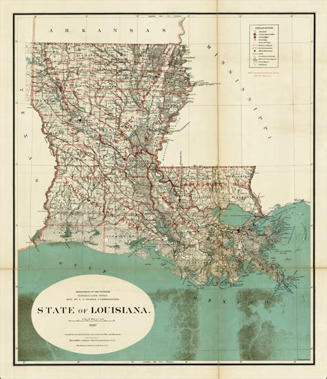 State Of Louisiana Records State Of Louisiana 1887 Compiled From The Official Records Of The General Land