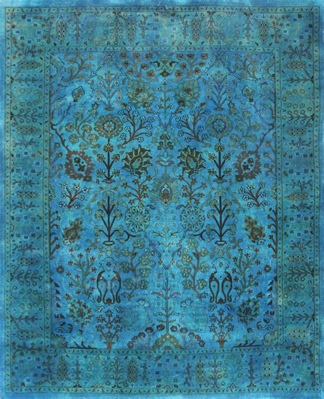 Turquoise Area Rug 8x10 Rugsville Overdyed Turquoise Rug 12208 10x14 Traditional Area Rugs By Rugsville