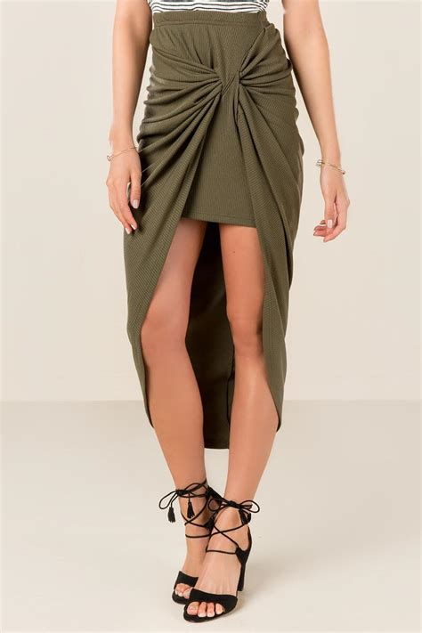olive cristal knotted maxi skirt s