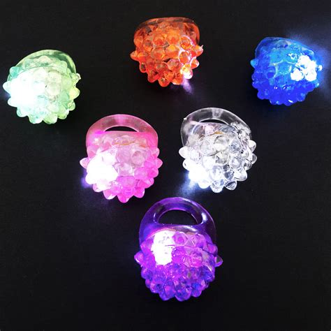 Led Light Up Jelly Bumpy Rings 24 12 Count