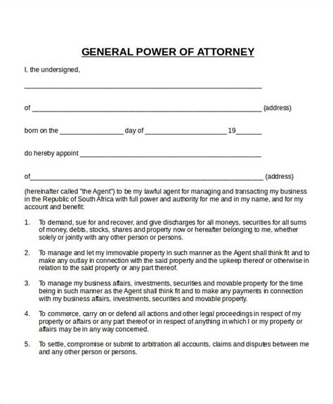 Power Of Attorney Template South Africa Power Of Attorney Template South Africa Best Template Idea